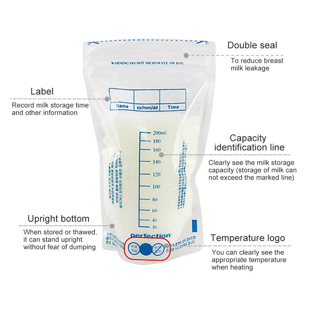200/ml 30/PCS Muttermilchbeutel vorsterilisiert Einweg Muttermilch F/üttern Gefrierschrank Container Genaue Messungen eak-proof Zip Locks Safety Bag fresh-keeping Collection