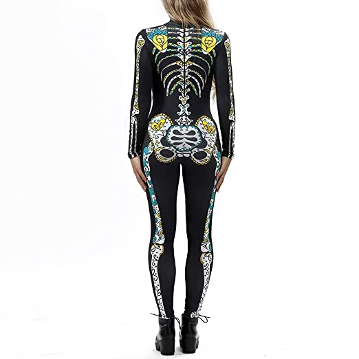 Amazon.com: Womens Halloween Jumpsuit KpopBaby Sexy Bone Rose Print Sling Slim Playsuit Trouser Costumes: Clothing