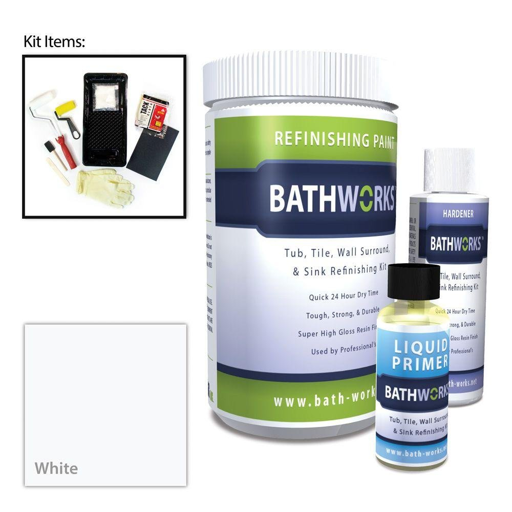 BATHWORKS 20-oz. DIY Bathtub and Tile Refinishing Kit- White by Bath an Bath Works
