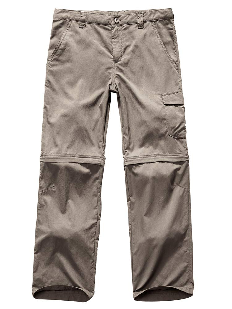 Kids Young Girl's Quick Drying Convertible Pants, Athletic Lightweight Outdoor Hiking Shorts, Travel Cargo Fishing Trousers,9013,Khaki L,14-16 Years by Toomett