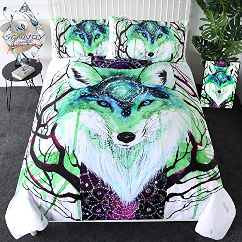 Sleepwish Fox Galaxy by Scandy Girl Bedding Set Wolf Warrior Duvet Cover 3 Piece Blue and Green Watercolor Bedding Tree Branch Bedspread (Twin) (Wolf Twin Bedspread)