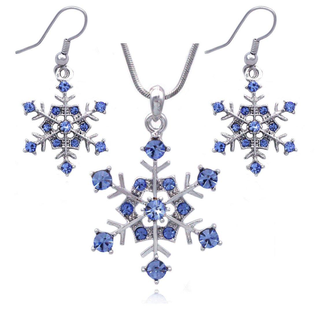 Winter Snow Snowflake Wedding Bridesmaid Pendant Necklace Earrings Jewelry Set (Blue)