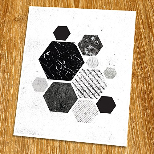 Modern Art Print (Unframed), Geometric Art, Abstract Art Poster, Mid-century Art, Cafe, Industrial, Loft, Beehive Wall Art, Hexagon Art, Black and White, 8x10