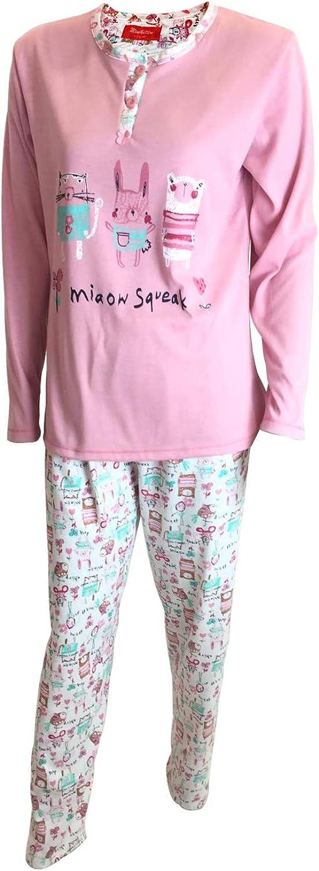 Pijama de se/ñora Mujer de ALGOD/ÓN Camiseta de Dibujo Bordado Manga Larga y Pantalon Estampado Largo//Ropa para Dormir Mini kitten