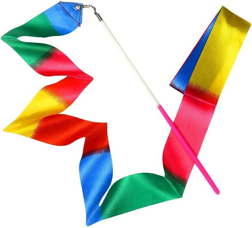 Ruban Jouets MUAI 10/pi/èces 2/Metre Rainbow Danse Ruban de Gymnastique Rythmique Rubans Ruban de Gymnastique Danse Streamer avec cl/é dorchestre dansante pour Enfants Dancing