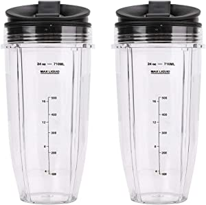 2 Pack Blender 24 oz Cups with Sip & Seal Lid 710ML Measuring Scale Cup Replacement Compatible with Nutri Ninja Auto IQ Blender BL482 BL642 NN102 BL682 BL2013 Replace 483KKU486 408KKU641