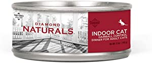 Diamond Naturals Premium Indoor Cat Hairball Control Cat Food Canned Wet Pate Made with Protein from Real Chicken for Indoor Adult Cats 5.5oz, Case of 24