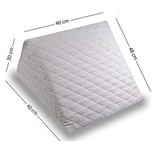 ZETA TEX - Cojín con Forma de Cuña para Cama y Sofá Sujeción de Espalda Almohada de Lectura 40 x 30 x 48 cm cm