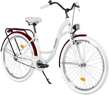 Milord Bikes Bicicleta de Confort Blanco y Burdeos de 1 Velocidad y 26 Pulgadas con Soporte Trasero, Bicicleta Holandesa, Bicicleta para Mujer, Bicicleta Urbana, Retro, Vintage: Amazon.es: Deportes y aire libre