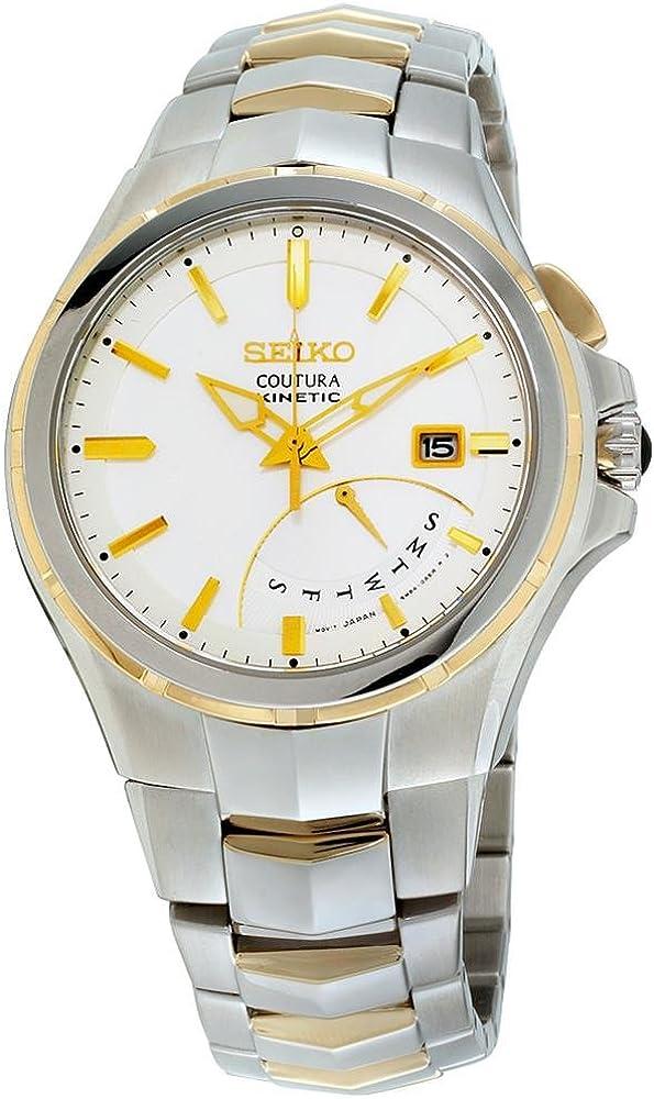 Seiko SRN064 Men s Coutura Two-Tone Bracelet Band White Dial Watch