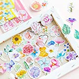 MiiSii 315 Pieces Flower Stickers and Emblishments for Scrapbooking Album Journal Laptops Skateboard Bikes