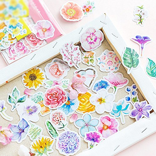 MiiSii 315 Pieces Flower Stickers and Emblishments for Scrapbooking Album Journal Laptops Skateboard Bikes by MiiSii