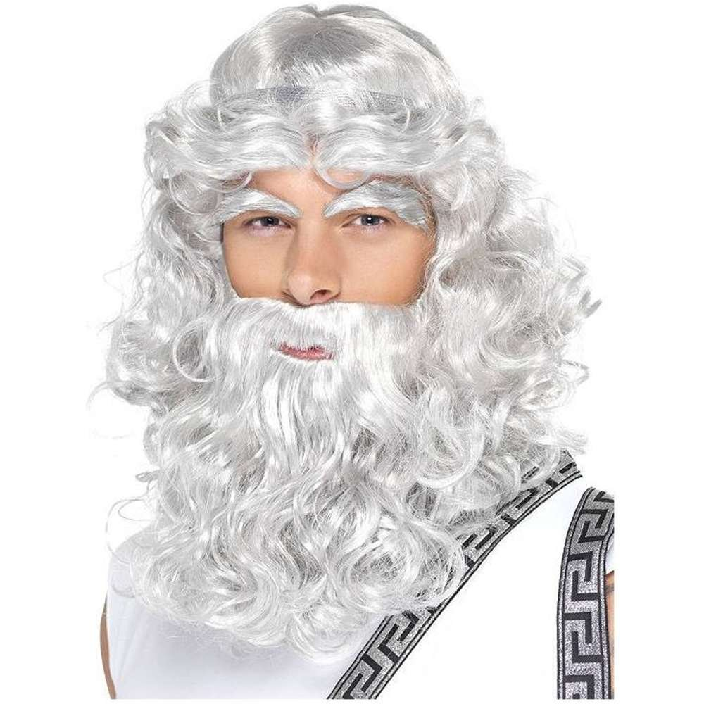 Zeus Wig, Eyebrows and Beard Set - One Size