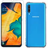 TheGiftKart HD Tempered Glass & Flexible Shockproof Crystal Clear Transparent Back Cover Case for Samsung Galaxy A50