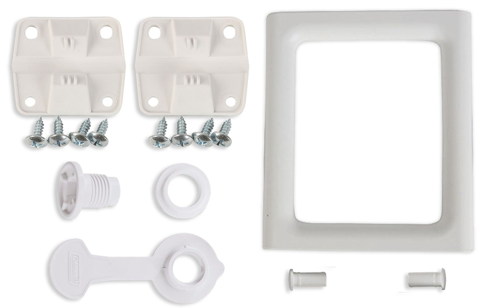 Coleman Ice Chest Cooler Replacement Parts Complete Set - 2 Plastic Hinges With Screws, 2-Way Swing Handle, Drain Plug Assembly (1'' Shaft Length) - in Package by Main Event USA - Buy Combo and Save by Coleman
