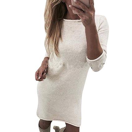 Camisas Mujer,Modaworld Moda Suéter Casual Largo O-Cuello Sólido Mujer Vestido