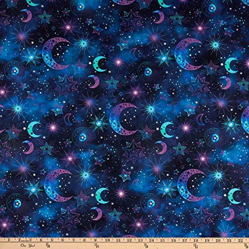 Northcott Cosmic Universe Cosmic Motifs Indigo, Fabric by the Yard