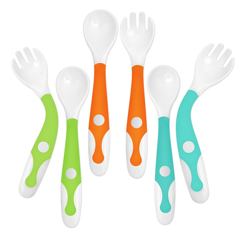 YIVEKO Baby Training Spoons Forks 3 Sets with Travel Case, Toddler Feeding Utensils Set Children Tableware Travel Set BPA Free Self-Feeding Learning Spoons Forks for Kids