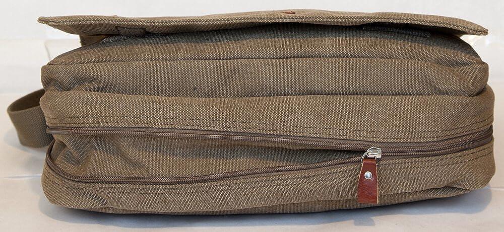 Gibecière Besace Toile Femme Homme porté épaule et bandoulière Format A4 Sac de Cours Sac Messenger Wesley ANCIEN PRIX 45,00 EUR (MARRON)