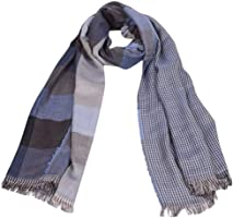 Solid Warm Men Fashion Tartan Scarf Wrap Plaid Cozy Tassel Shawl Winter Elastic