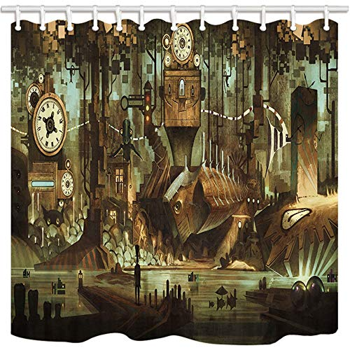 Shower Curtain for Bathroom/Home/Hotel Waterproof Bath Curtain Set with Hooks Bathroom Curtain Accessories Industrial City Steampunk 60