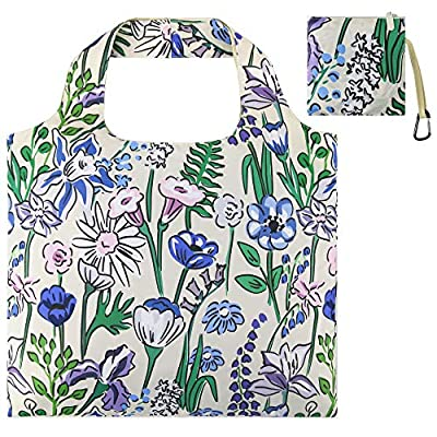 Reusable Grocery Bags with Zipper Closure,Foldable into Zippered Pocket
