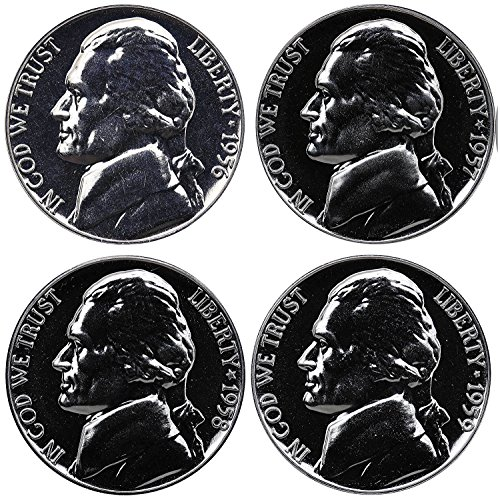 1956 1957 1958 1959 Jefferson Nickel Gem Proof Run 4 Coins US Mint Lot - Nickel Coin Proof
