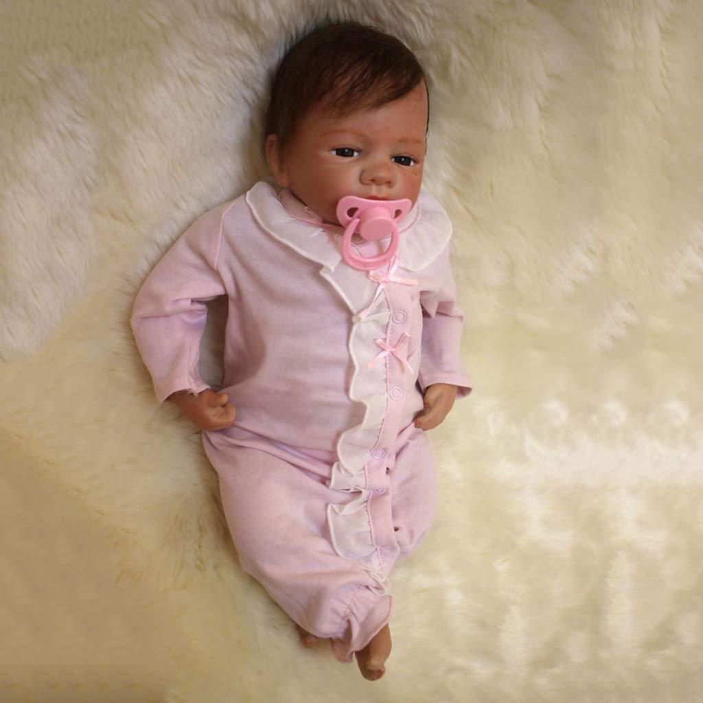 Prettyia 本物そっくり 18インチ シリコン製 リボーン幼児 赤ちゃん人形 新生児 服付き おしゃぶり 看護用ボトル オタードール用   B07JYZ3ZR7