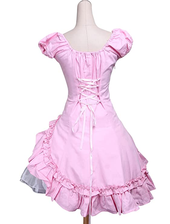 antaina Pink Cotton Ruffle Bow Lace Classic Retro Victorian Lolita Cosplay Dress, XXL at Amazon Womens Clothing store: