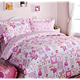 FADFAY Home Textile,Romantic Pink Butterfly Fairy Duvet Covers,Cute Korean Rustic Girls Princess Bedding,Delicate Pink Polka Dot Bed Sheet Set