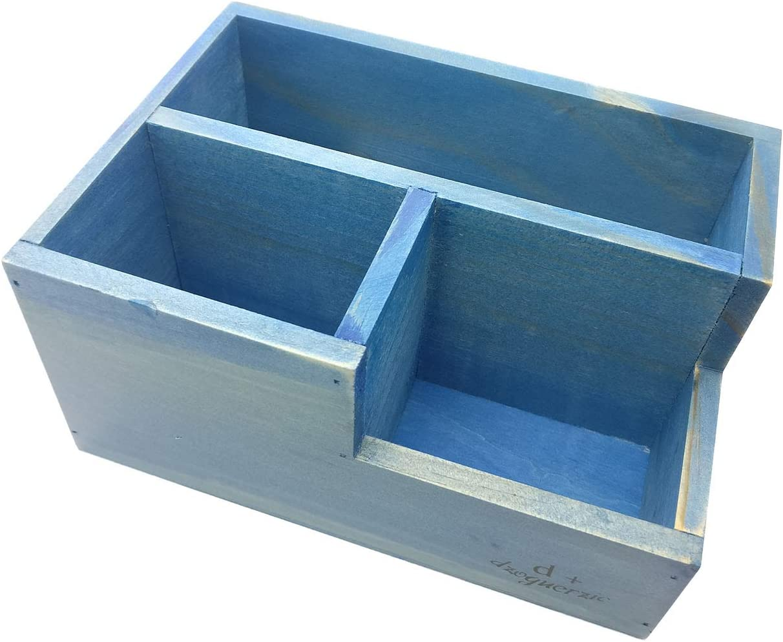 Chris-Wang Multifunctional 3-Compartment Wooden Desktop Office Supply Caddy/Pencil Holder/Desk Mail Organizer/Succulent Plants Planter(Blue)
