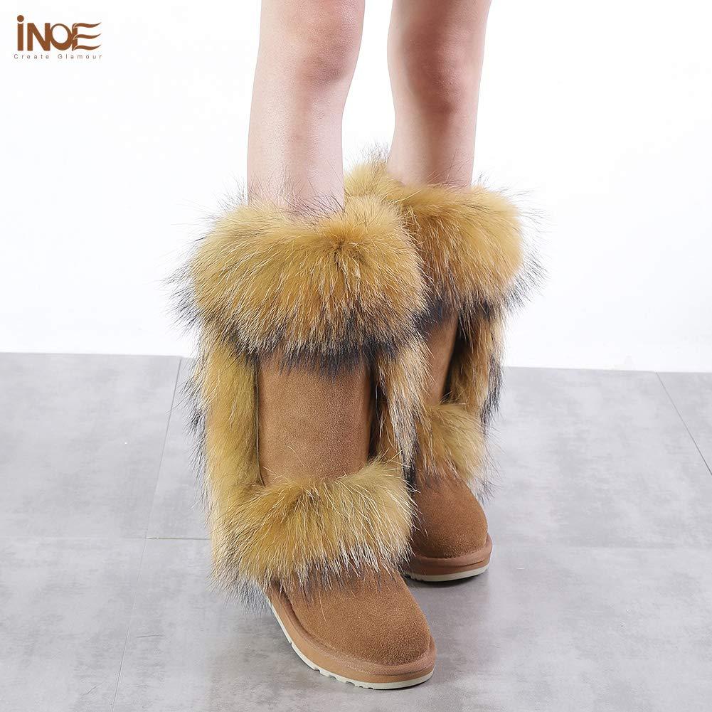 INOE Fox Fur Women High Winter Snow Boots