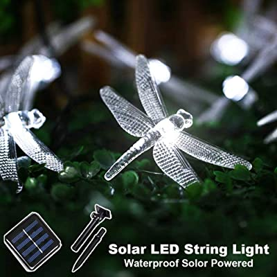 CIAOYE Outdoor Dragonfly Solar String Lights, 20LED 16ft Waterproof Fairy Lighting for Christmas Trees, Garden, Patio, Fence, Wedding, Party and Holiday Decorations, White : Garden & Outdoor