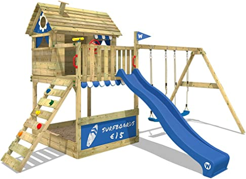 WICKEY Parque infantil de madera Smart Seaside con columpio y tobogán azul, Casa de juegos de jardín con arenero y escalera para niños: Amazon.es: Bricolaje y herramientas