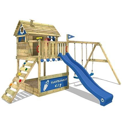 WICKEY Casa sobre pilares Smart Seaside Casa de juegos jardín de madera Parque infantil con cajón