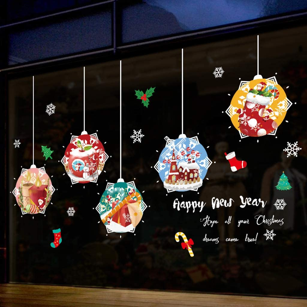Chezaa Christmas Window Clings Stickers Wall Mural Snowmen Art Decals Winter Mirror Decoration Removable for Glass Xmas Holiday Party Kids Bedroom Living Room Decor