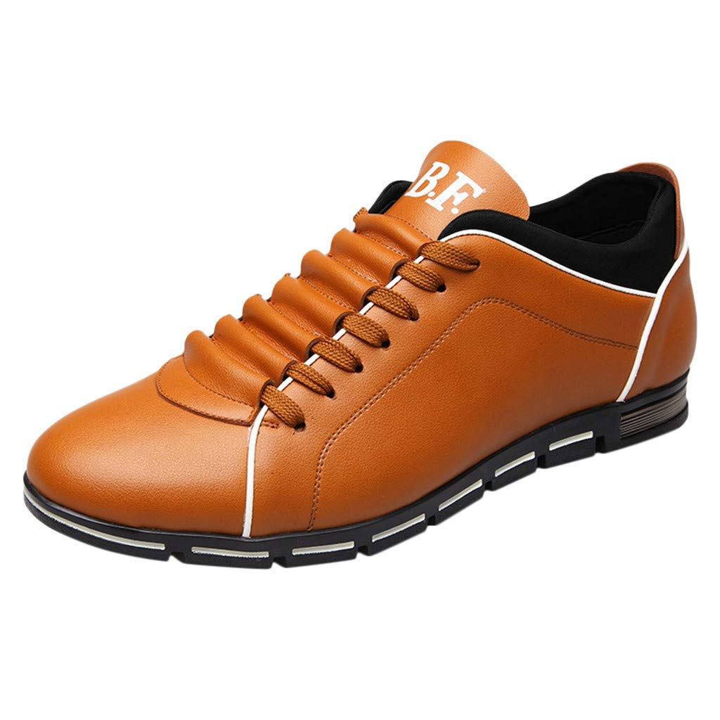 HOSOME Men Fashion Solid Leather Business Sport Flat Casual Shoes Lightweight Fashion Walking Breathable Shoes Orange