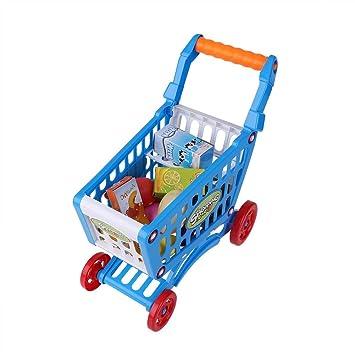 Fdit Carro de la Compra para niños con Juguetes Preciosos para niños y niñas Que pretienden a Jugar con Alimentos y Frutas Jugando con comestibles: ...
