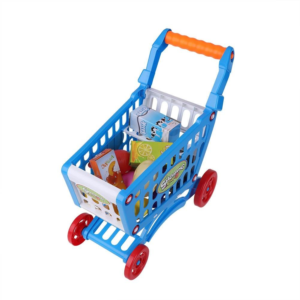 Kids Shopping Cart Precious Toys Kids Toddlers Pretend Role Play Food Fruits Playing Game with Groceries(Blue with Food)