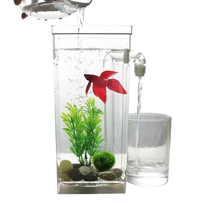 SODIAL LED Mini Tanque de peces Acuario auto limpieza Cuenco del tanque de peces Comodo acuario de escritorio para la decoracion del hogar de oficina ...