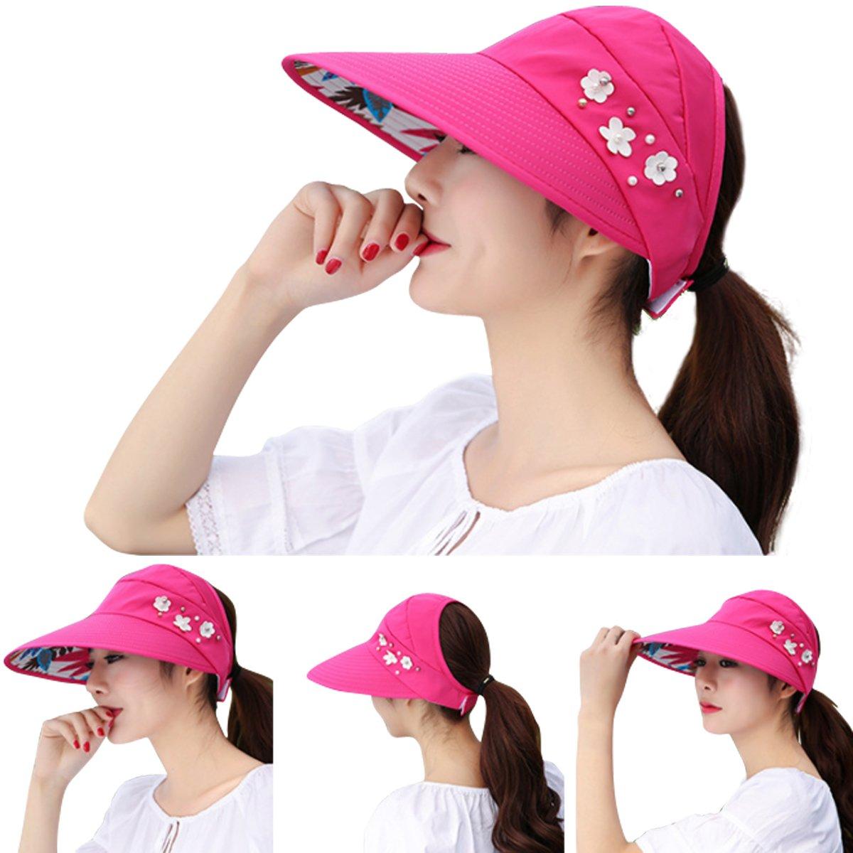 918bd62bd9cc39 JOYEBUY Women Wide Brim UV Protection Summer Beach Visor Cap Sun Hat  visorhat090014 Skullies & Beanies ...