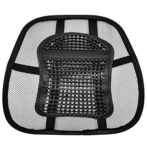 AMOS Super Comfort Mesh Lumbar Back Seat Sit Tight Support System Pain Relief for Office Chair Seat etc with Elasticated Positioning Strap and Mesh Grill
