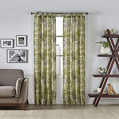 Pairs to Go Marley Tropical Window Panel Pair, 60x84, Green - Includes two curtain panels Easy to tab top construction Poly/Cotton blend - living-room-soft-furnishings, living-room, draperies-curtains-shades - 61Aode0mtlL. SS400  -
