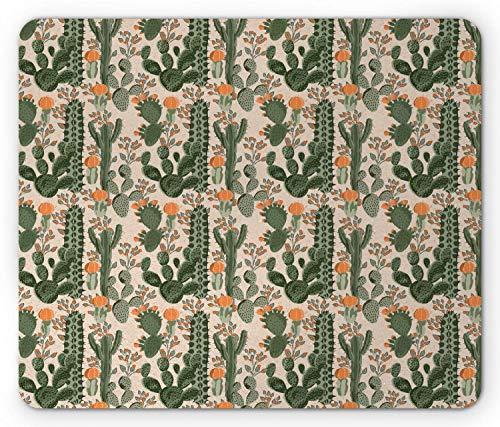 Succulent Rectangle Mouse Pad, Desert Botanical Pattern with Floral Saguaro Cactus Plants, 7.9