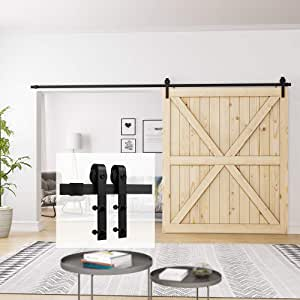 "Homlux 12ft Heavy Duty Sturdy Sliding Barn Door Hardware Kit Single Door - Smoothly and Quietly - Simple and Easy to Install - Fit 1 3/8-1 3/4"" Thickness Door Panel(Black)(J Shape Hangers)"