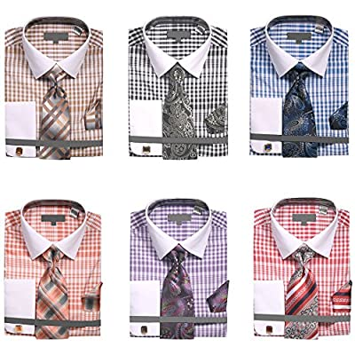 Sunrise Outlet Men's Two Tone Plaid French Cuff Dress Shirt With Tie Handkerchief Cufflinks