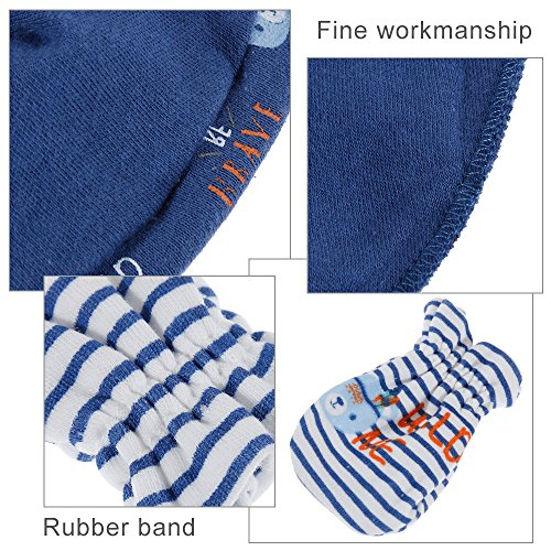 Lictin Newborn Baby Cotton Cap Mitten - 100% Cotton 4pcs Baby Cotton Caps Hats and 4 Pairs Baby Scratch Mitten Gloves for Baby Boy(0-6 Months) (Blue) by Lictin (Image #4)
