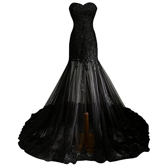 Drasawee Womens Strapless Lace Perspective Sheer Mesh Party Wedding Dress Elegant Beads Long Evening Gowns UK10