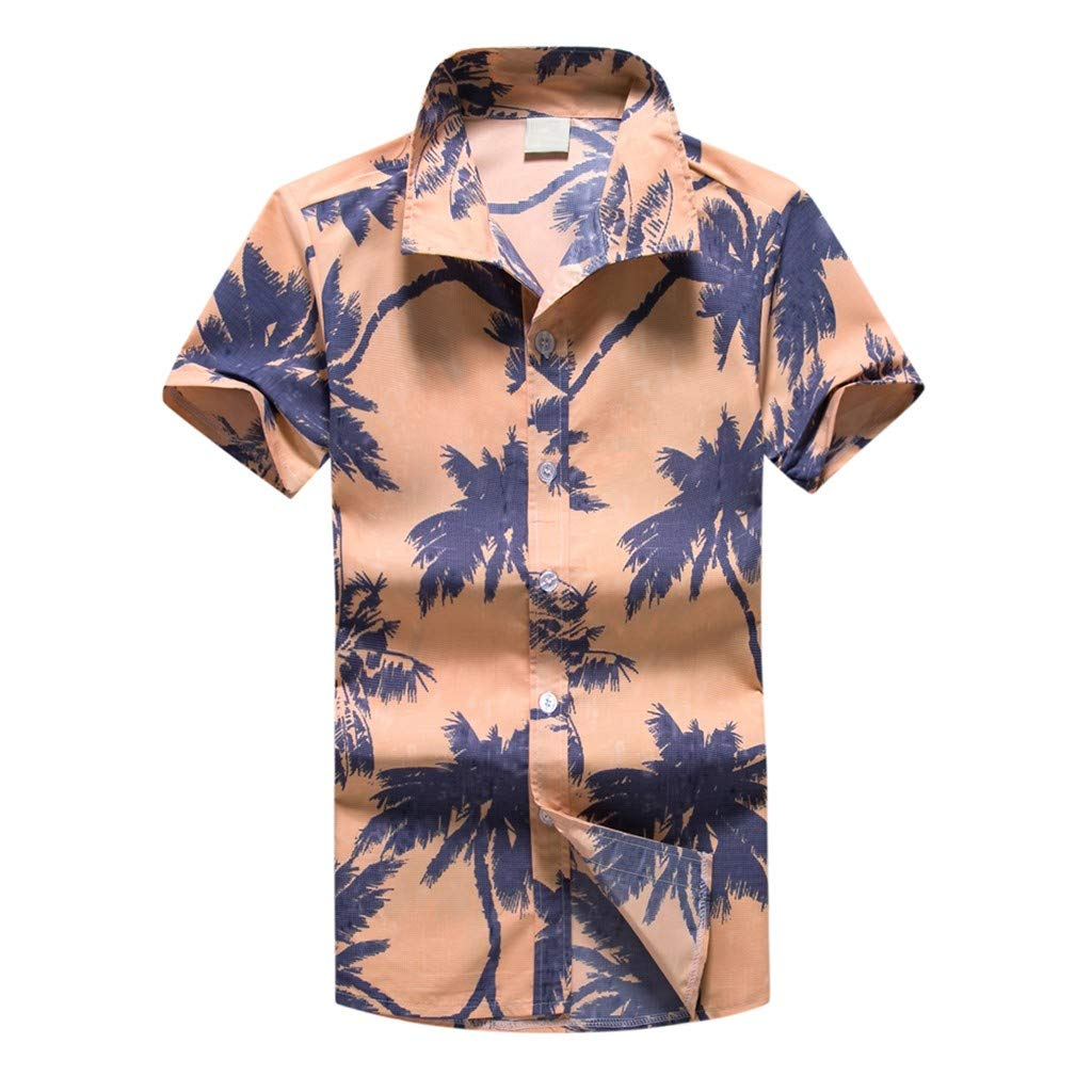 Men Shirt Hawaiian Print Short T-Shirt Beach Quick Dry Holiday Top Blouse