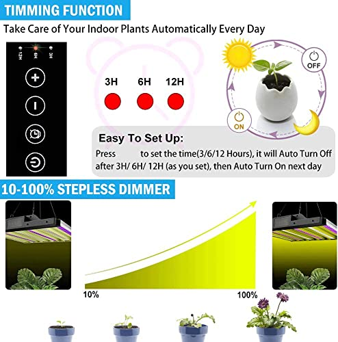 1000W LED Grow Light, Dimmable Plant Light Panel with Auto ON Off Timer, Upgraded Full Spectrum Grow Light Bulbs for Indoor Plants, Sunlike Growing Lamp for Greenhouse Hydroponic Herbs Flowers